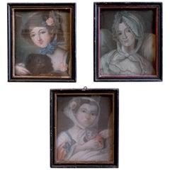 3 Oil-Pastel Portraits of Women, 18th Century