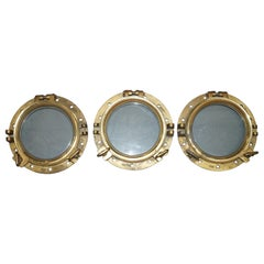 3 Original Antique 1890 Stamped Solid Brass Military Nautical Porthole Windows