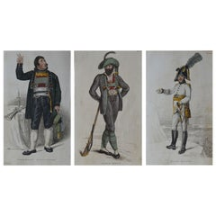 3 Original Antique Prints of Military Gentleman 'Napoleonic Wars' Dated 1809