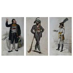 3 Original Antique Prints of Military Gentleman 'Napoleonic Wars', Dated 1809