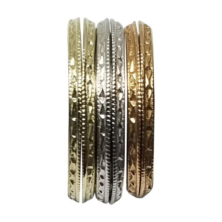 3 Pair of 14 Karat Rose, White and Yellow Hand Engraved Beveled Edge Guard Rings