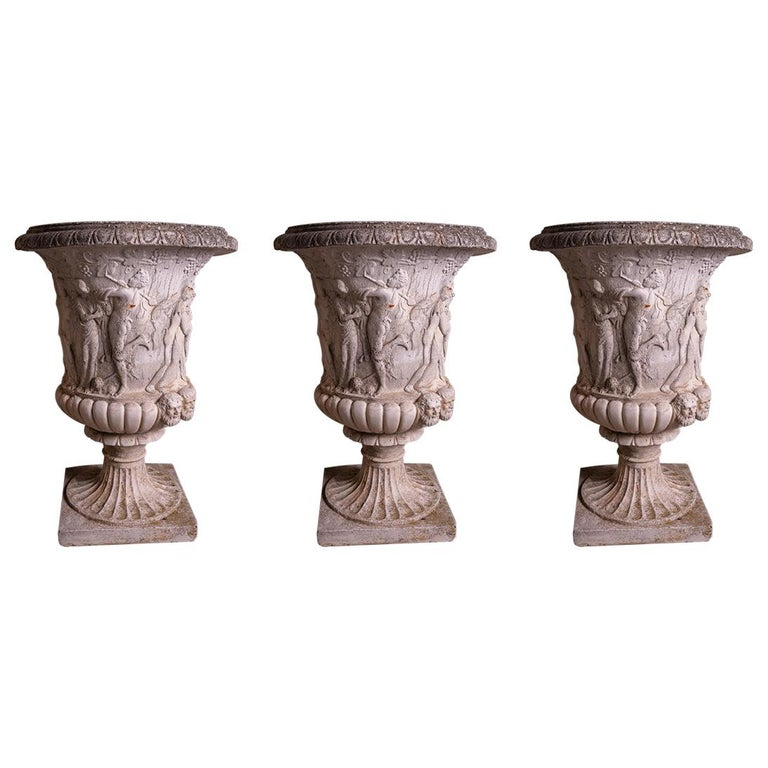 2 Pairs of Terracotta Neoclassical Garden Pots For Sale