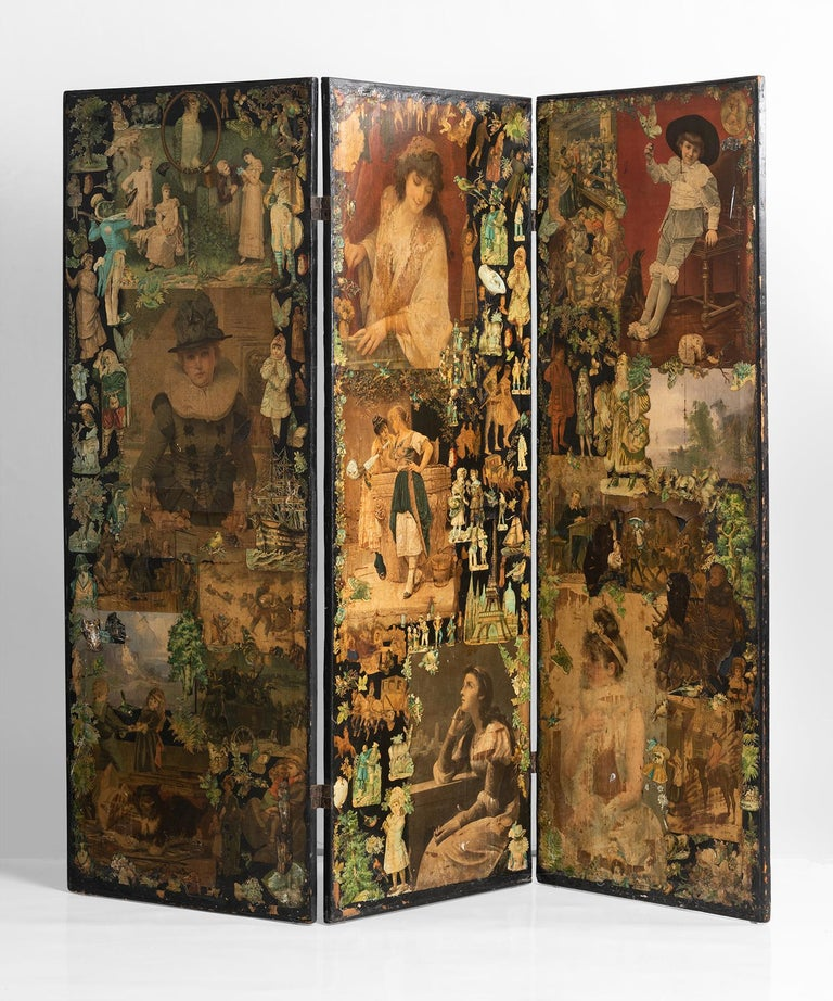 3-panel Folk Art screen Europe, early 20th century.  One of a kind screen with decoupage on all sides.