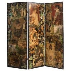 3-Panel Folk Art Screen Europe, Early 20th Century