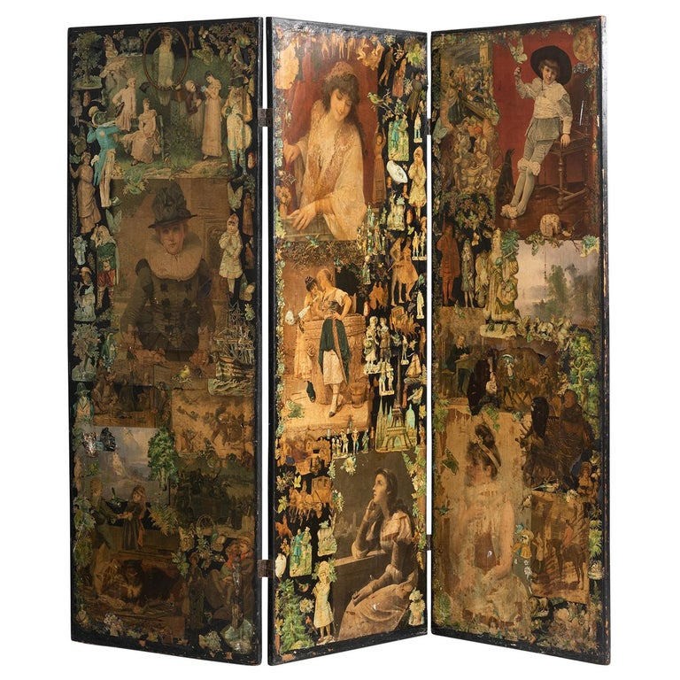 3-Panel Folk Art Screen Europe, Early 20th Century For Sale