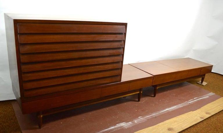 Mid-Century Modern Three-Piece Merton Gershon Design for American of Martinsville Server Sideboard For Sale