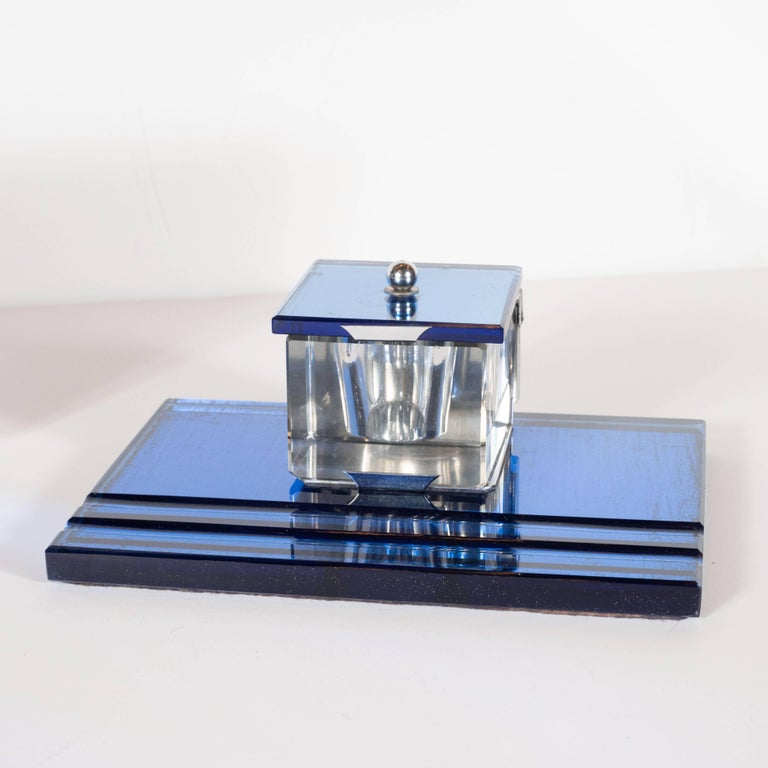 Three-Piece Art Deco Machine Age Cobalt Mirror and Chrome Desk Set by Victor In Excellent Condition For Sale In New York, NY