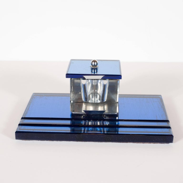 Three-Piece Art Deco Machine Age Cobalt Mirror and Chrome Desk Set by Victor For Sale 3