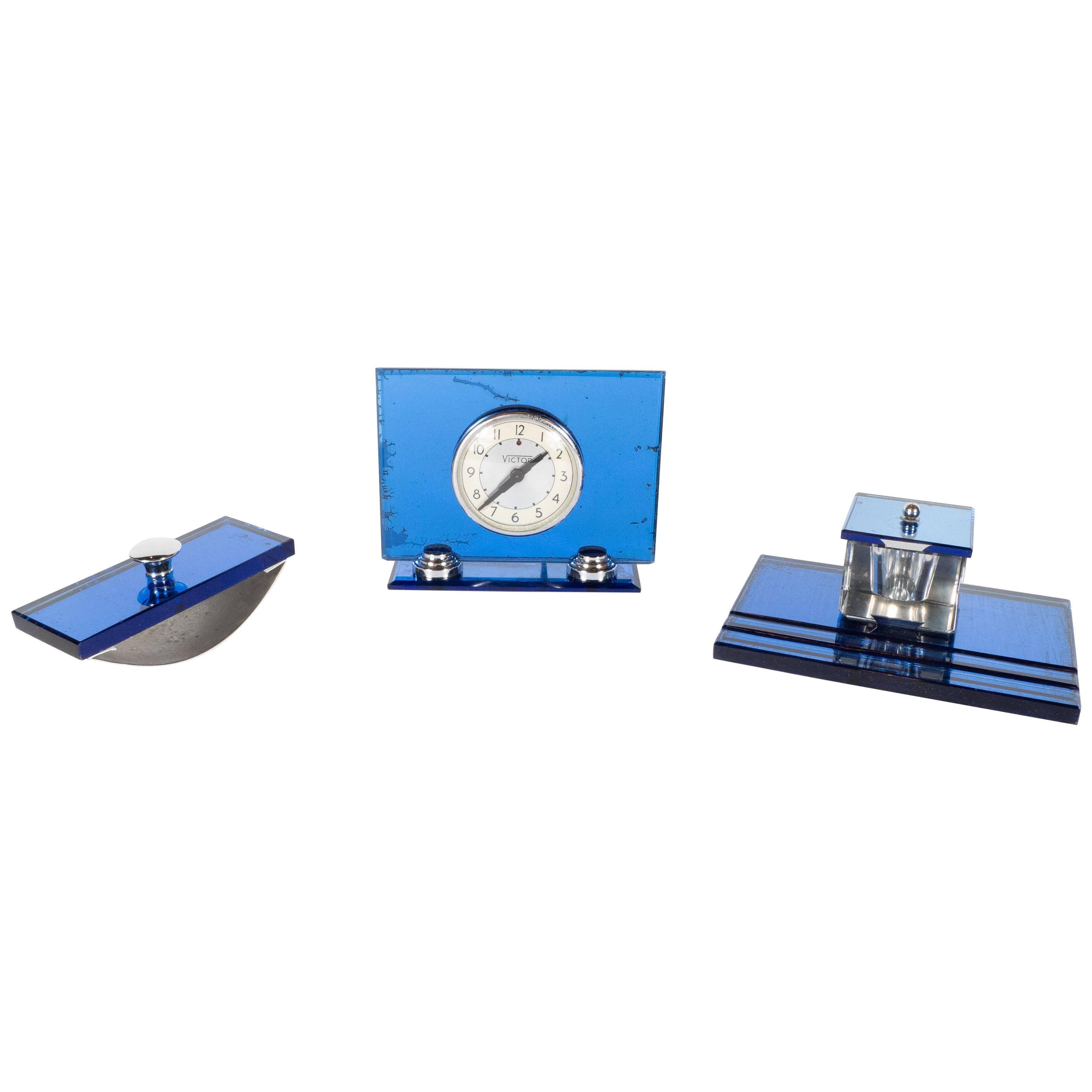 Three-Piece Art Deco Machine Age Cobalt Mirror and Chrome Desk Set by Victor