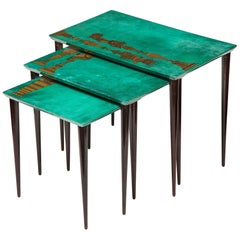 3-Piece Emerald Leather Nesting Table Set by Aldo Tura
