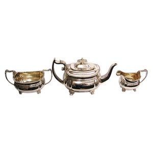 3-Piece George 111 Regency Silver Teaset Dated 1814/18, Charles Fox, London