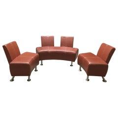 3 Piece Italian Industrial Leather and Chrome Salon