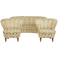 3-Piece Mid-20th Century Shell Back Living Room Suite