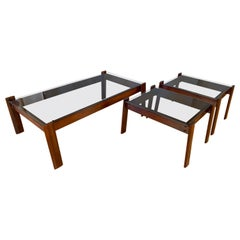 3-Piece Percival Lafer Designed Coffee and End Tables in Jacaranda Rosewood