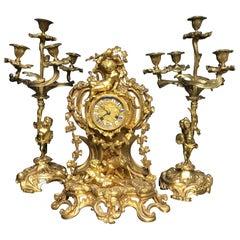 19th Century 3-Piece Set Bronze Ormolu Decorative French Clock, circa 1870
