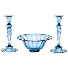3-Piece Set Hand Blown Steuben Steel Blue Centerpiece with Matching Candlesticks