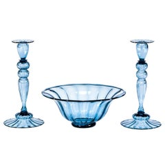 3-Piece Steuben Hand Blown Steel Blue Centerpiece & Optic Rib Candlesticks, Pair