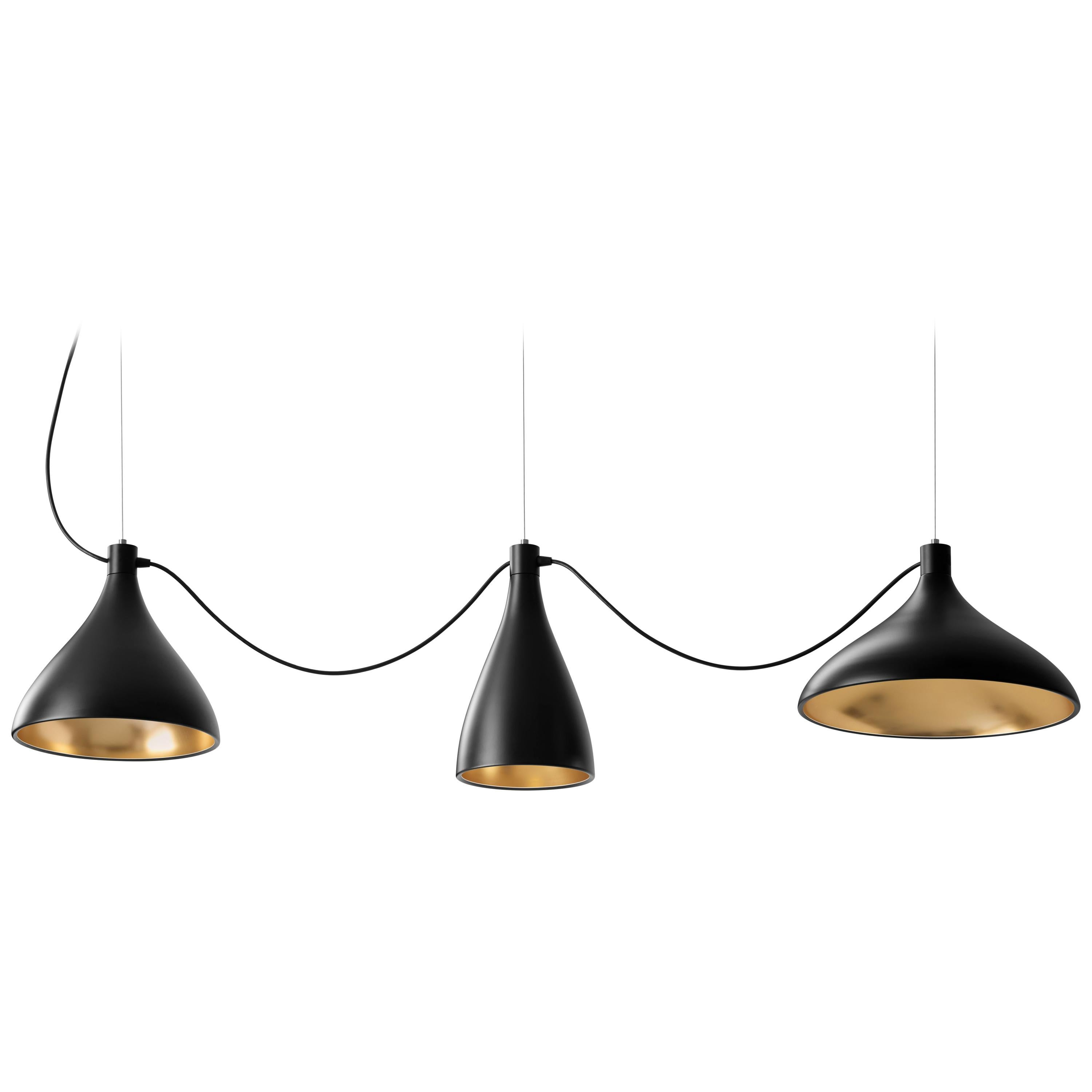 3-Piece Swell String Chandelier in Black and Brass by Pablo Designs