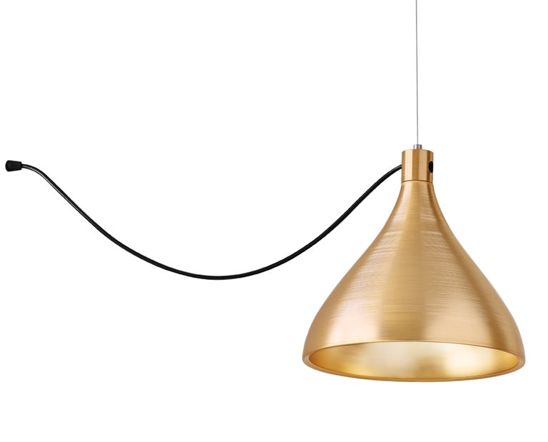 Modern 3-Piece Swell String Chandelier in Brass by Pablo Designs For Sale