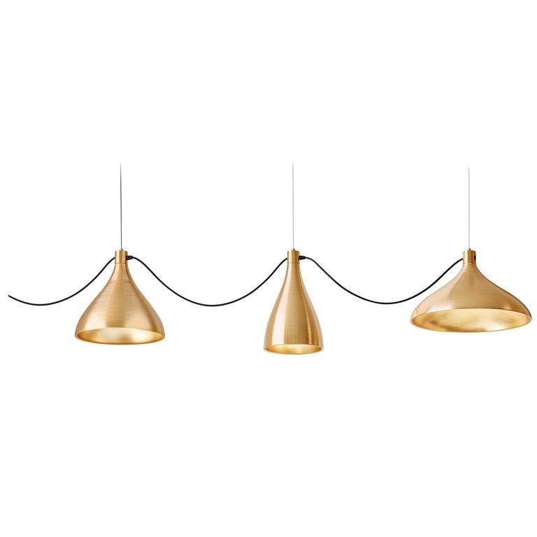 3-Piece Swell String Chandelier in Brass by Pablo Designs For Sale
