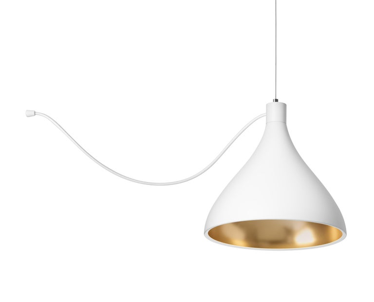 Modern 3-Piece Swell String Chandelier in White and Brass by Pablo Designs For Sale