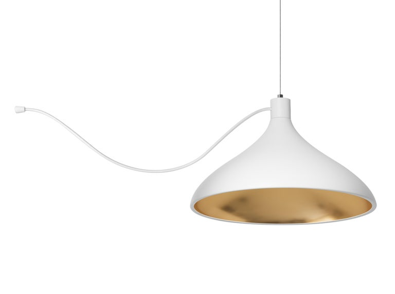 American 3-Piece Swell String Chandelier in White and Brass by Pablo Designs For Sale