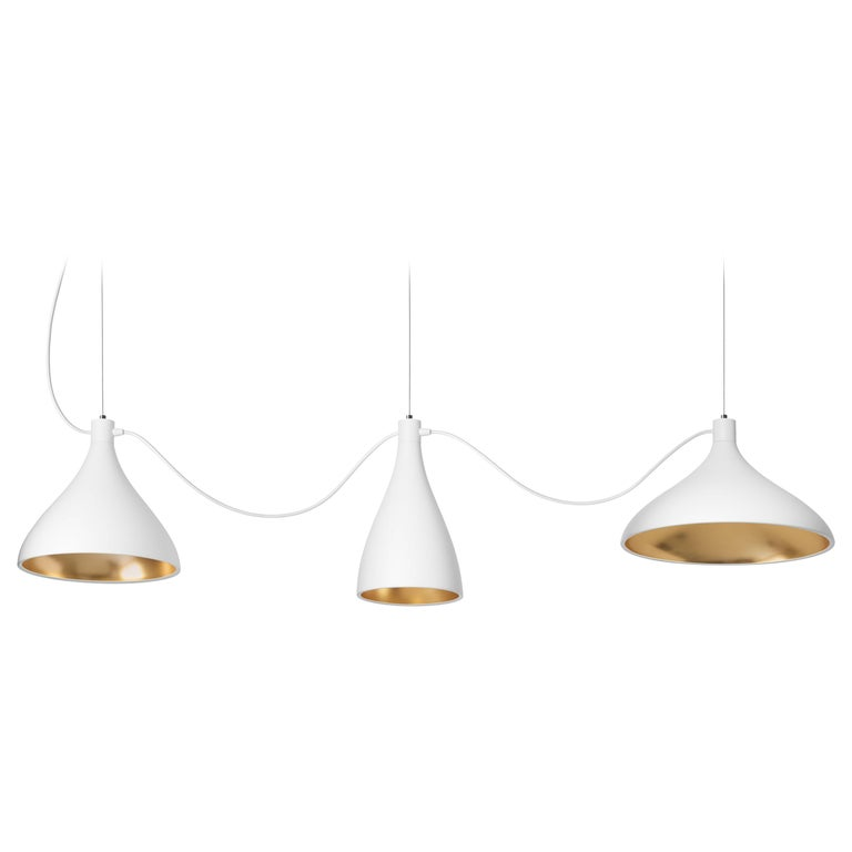 3-Piece Swell String Chandelier in White and Brass by Pablo Designs For Sale