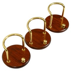 3 Pieces of Very Elegant Large 1970s Wall Hooks Made of Teak and Brass