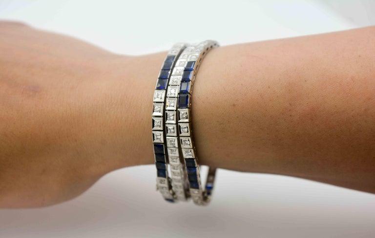 Three Platinum Bracelets; 2.89 Carat Diamonds 9.9 Carat Synthetic Sapphires For Sale 5