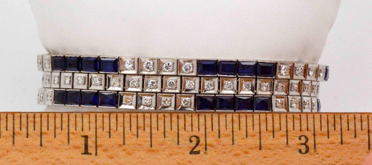 Art Deco Three Platinum Bracelets; 2.89 Carat Diamonds 9.9 Carat Synthetic Sapphires For Sale