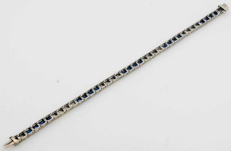 Three Platinum Bracelets; 2.89 Carat Diamonds 9.9 Carat Synthetic Sapphires For Sale 2