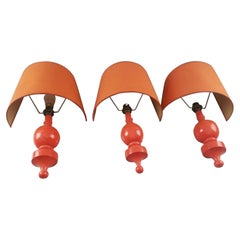 3 Popdesign Wall Lights in Lacquered Wood, circa 1970
