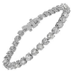 3-Prong Line Diamond Bracelet in 14 Karat White Gold '9.62 Carat'