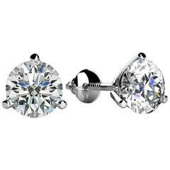 3 Prong-set Round Diamond Stud Earrings (1/3ct, Very Good, SI1-SI2) Screw-Back