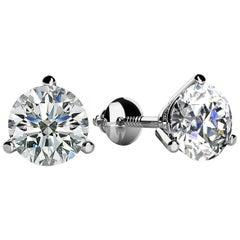3 Prong-set Round Diamond Stud Earrings (1/6ct, Very Good, SI1-SI2) Screw-Back