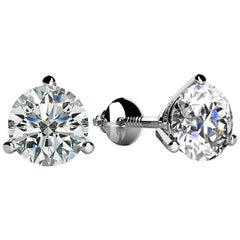 3 Prong-Set Round Diamond Stud Earrings (1.00ct, Very Good, VS2-SI1) Screw-Back