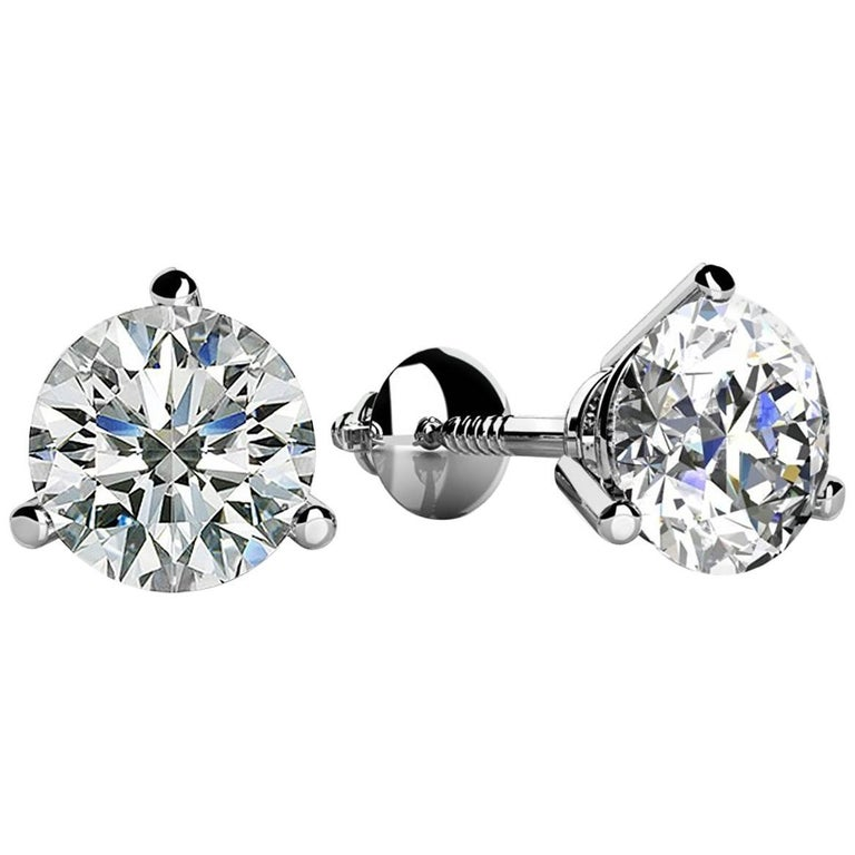 e249cae283a1c 3 Prong-Set Round Diamond Stud Earrings (1.00ct, Very Good, VS2-SI1)  Screw-Back