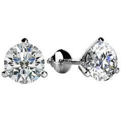 3 Prong-set Round Diamond Stud Earrings (3/4ct, Very Good, SI1-SI2) Screw-Back
