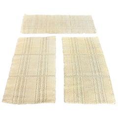 3 Pure New Wool 1970s Danish Rugs, Cream Hue, Eksport Hojer