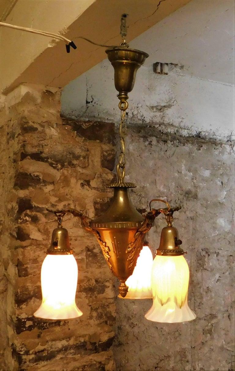 Art Nouveau Chandelier with Quezal Shades For Sale 3