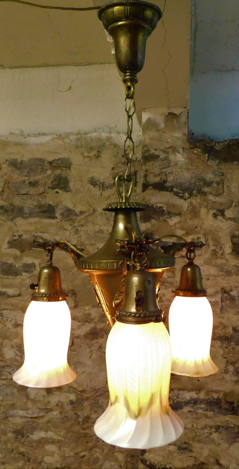 Art Nouveau Chandelier with Quezal Shades For Sale 4
