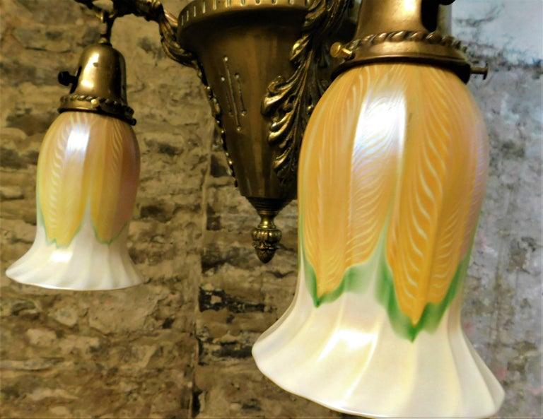 Art Nouveau Chandelier with Quezal Shades For Sale 5