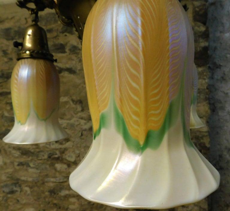 Art Nouveau Chandelier with Quezal Shades For Sale 6