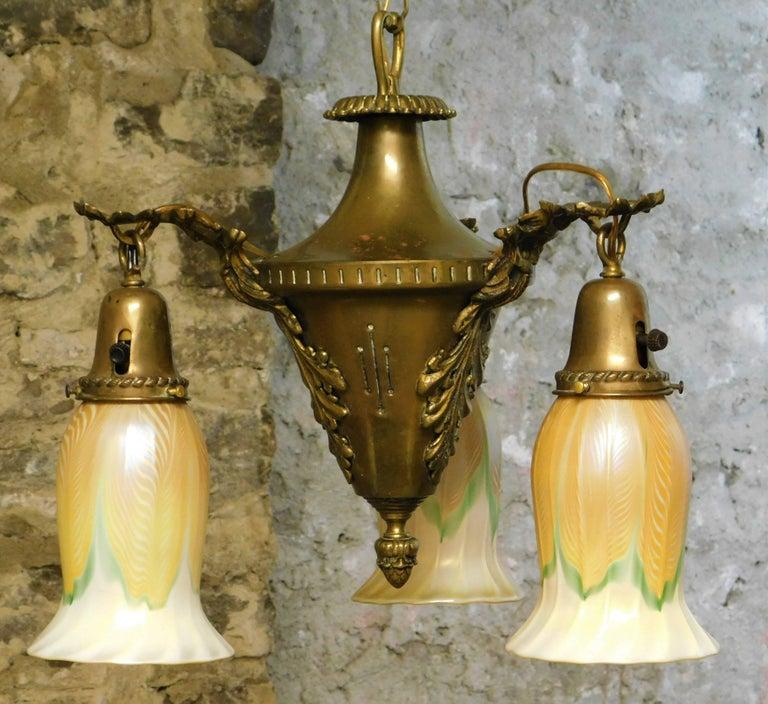 Art Nouveau Chandelier with Quezal Shades For Sale 8