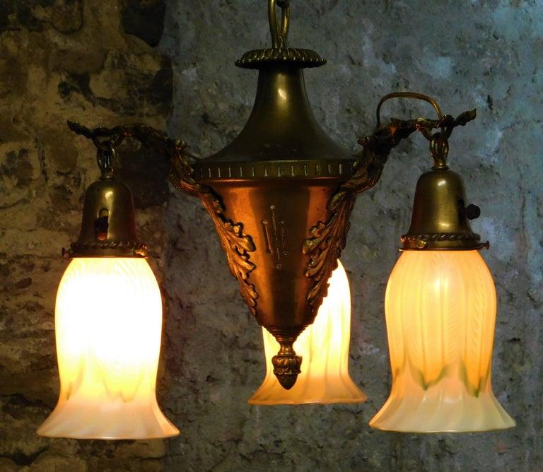 American Art Nouveau Chandelier with Quezal Shades For Sale