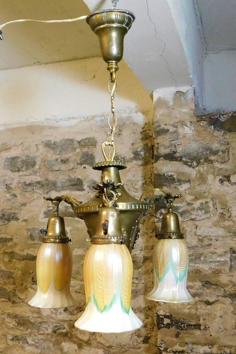 20th Century Art Nouveau Chandelier with Quezal Shades For Sale