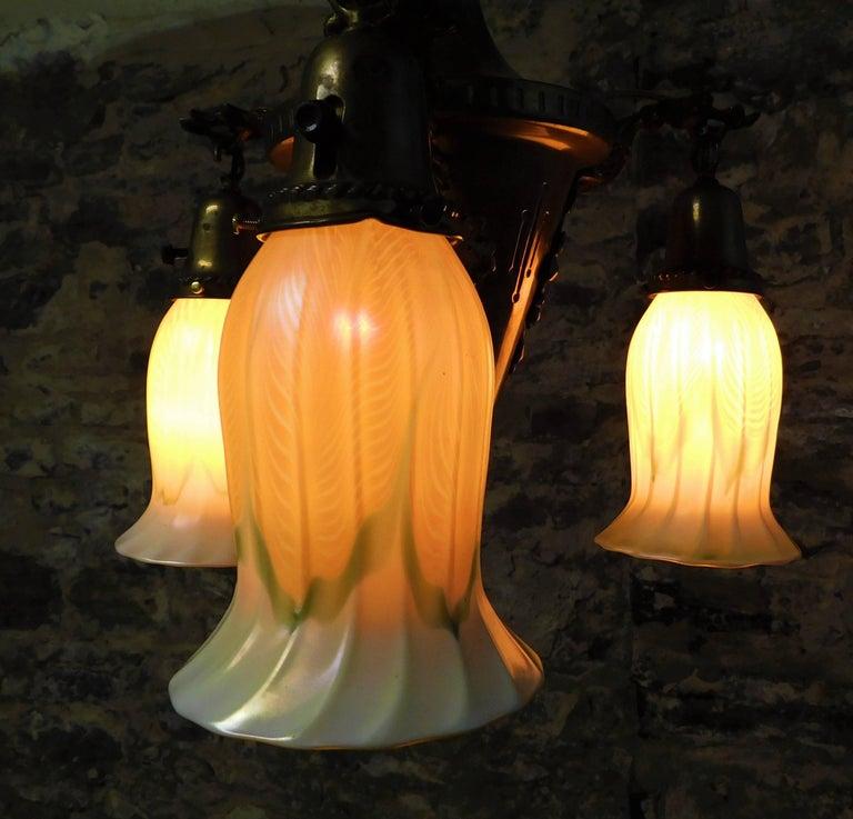 Brass Art Nouveau Chandelier with Quezal Shades For Sale