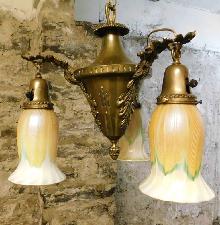 Art Nouveau Chandelier with Quezal Shades For Sale 1