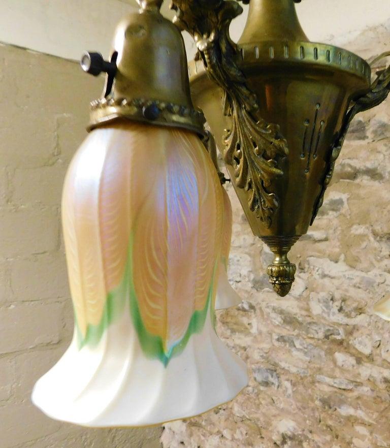 Art Nouveau Chandelier with Quezal Shades For Sale 2