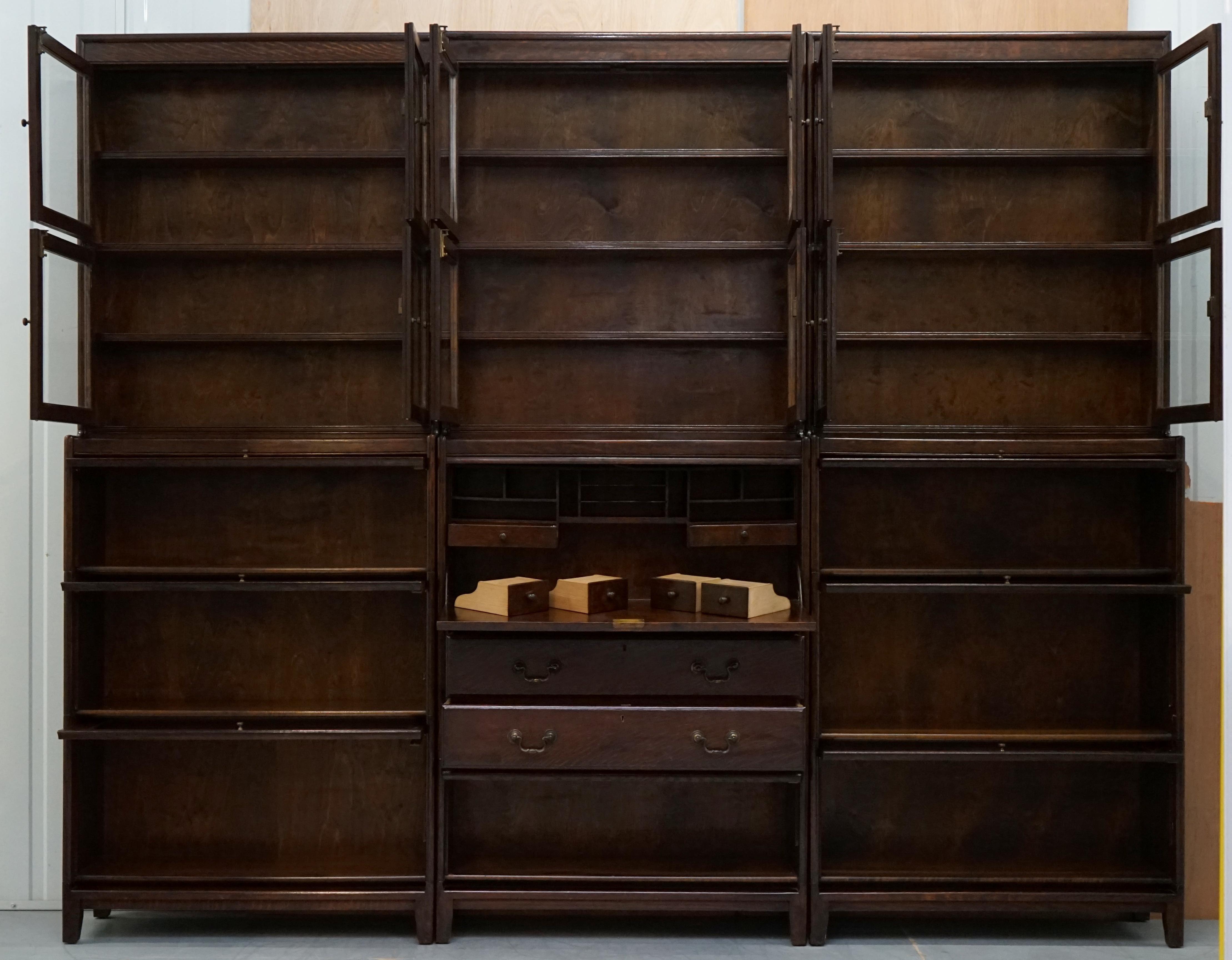 3 Rare 1920s Gunn Library Stacking Bookcases Desk Bureau Minty Globe Wernicke